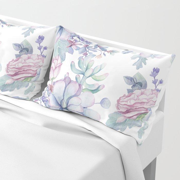 Pretty Blue Pink Succulents Garden Pillow Sham
