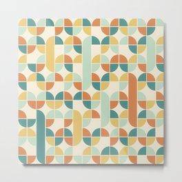 Mid Century Modern Geometric Pattern 1950s Colors Metal Print