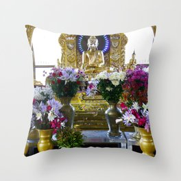 Buddha Shrine a Kuthodaw Pagoda, Myanmar Throw Pillow