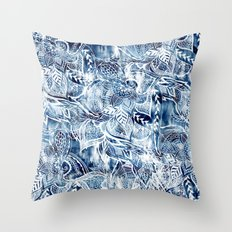 Modern navy blue tie die watercolor floral white boho hand drawn pattern Throw Pillow