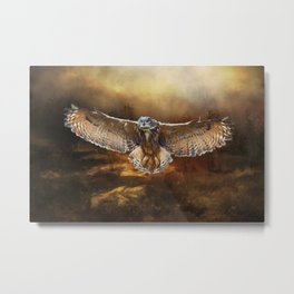 Owl Flight Metal Print