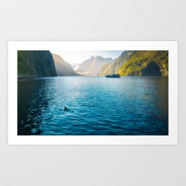 Morning sun glow and dolphins at Milford Sound Art Print