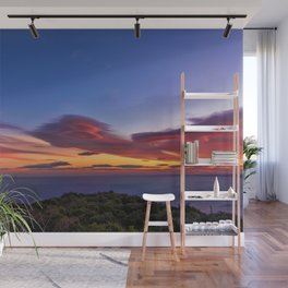 Lenticular Cloud Red Sunset Photographic Landscape Wall Mural