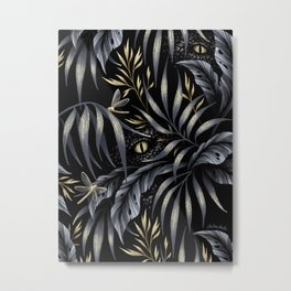 Jurassic Jungle - Grey Gold Metal Print