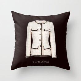 coco vintage black and white jacket Throw Pillow