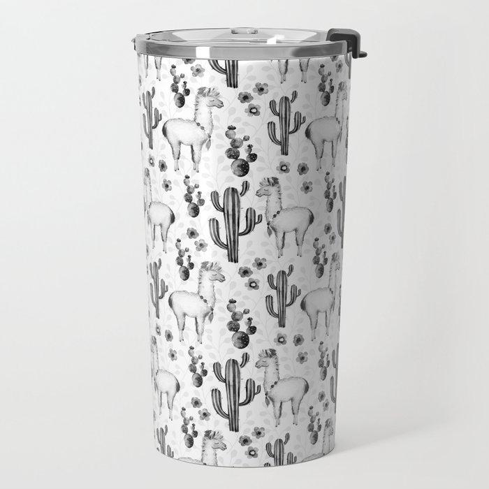 Llama Llamarama + Cactus Pattern Travel Mug