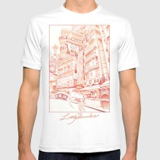 Red Mens Fitted Tee White LARGE