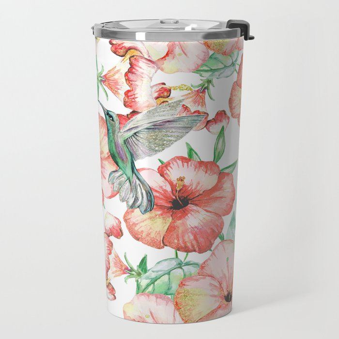 Hummingbirds + Hibiscus Travel Mug