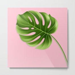 Monstera Leaf Greenery Tropical Pink Aloha Modern Décor Metal Print