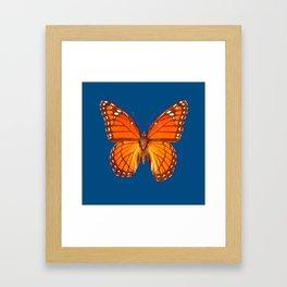 TEAL ORANGE MONARCH BUTTERFLY Framed Art Print