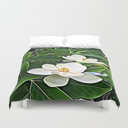 White Flowers of the Purest Essence Duvet Cover