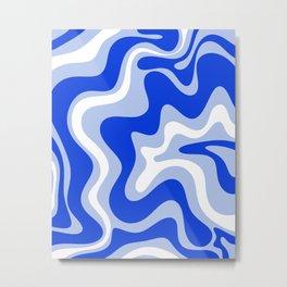 Retro Liquid Swirl Abstract Pattern Royal Blue, Light Blue, and White  Metal Print