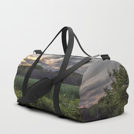 Smokey spring sunset in the woods Duffle Bag