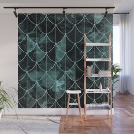 Mermaid scales. Mint and black. Wall Mural