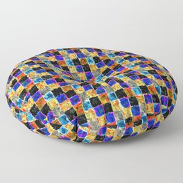 Black Yellow Gold and Blue Multicolored Patchwork Floor Pillow