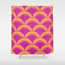 Japanese Fan Pattern Magenta and Orange Shower Curtain