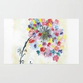 Dandelion watercolor illustration, rainbow colors, summer, free, painting Rug
