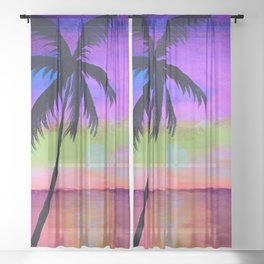 sunset with palm tree Sheer Curtain
