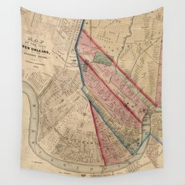 Vintage Map of New Orleans LA (1861) Wall Tapestry