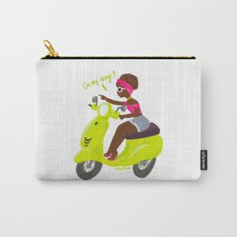 On my way! - pretty Afro girl in green Vespa. Carry-All Pouch