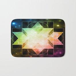 Rainbow Galaxy Sacred Geometry: Rhombic Hexecontahedron Bath Mat