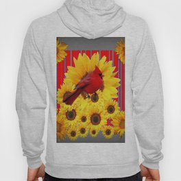 YELLOW SUNFLOWERS RED CARDINAL GREY  ART Hoody