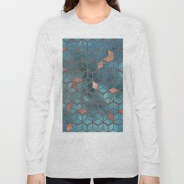 Pink Quartz And Teal Blue Cubes Geometry Pattern Long Sleeve T-shirt