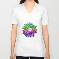 sunflower V-neck T-shirts featuring SunFlower by haroulita