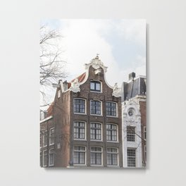 Architecture In Amsterdam Photo | Dutch Baroque Canal House Art Print | Europe Travel Photography Metal Print