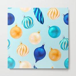 Christmas Bulbs Pattern Metal Print