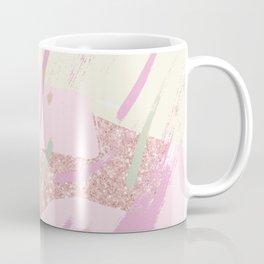 Abstract pink ivory girly glitter brushstrokes Coffee Mug