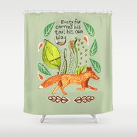 sayings Shower Curtains featuring Every Fox...fox, sayings, typography, quote, nature, leaves by Slumbermonkey Designs