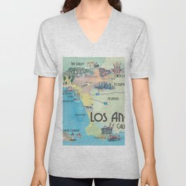 Greater Los Angeles Fine Art Print Retro Vintage Map with Touristic Highlights in colorful retro pri Unisex V-Neck