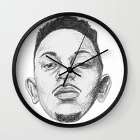 kendrick lamar Wall Clocks featuring Kendrick Lamar by Omar Guzman