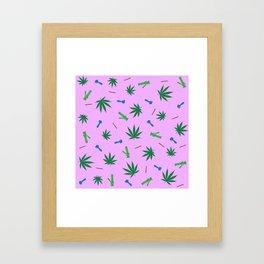 Weed Leaf, Bongs, Pipes, Joint, Blunts Pattern Framed Art Print