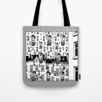 magritte Tote Bags featuring MAGRITTE IN MICHIGAN by ART D' SIERGEY