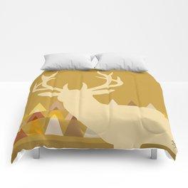 Deer Head Geometric Triangles | mustard yellow taupe Comforters