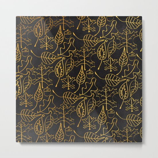 AUTUMN 1 - gold leaves on chalkboard background Metal Print