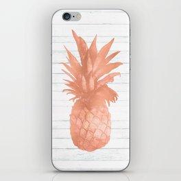 Rose Gold Pineapple on Wood Nautical Decor iPhone Skin