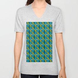 Mid Century Modern Flowers Optical Illusion Dark Teal Turquoise and Marigold Unisex V-Neck