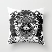 all seeing eye Throw Pillows featuring All seeing eye by Tshirt-Factory