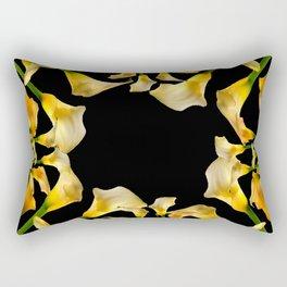 Golden Calla Lilies Black Garden Art Rectangular Pillow