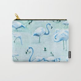 Flamingos Vintage Blue Carry-All Pouch