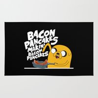 finn and jake Area & Throw Rugs featuring Finn & Jake Makin Bacon Pancakes by E30M52B25