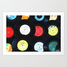 Retro Vinyl Records Art Print