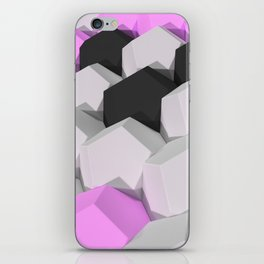 Pattern of white, purple and black hexagonal elements iPhone Skin