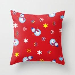 Snowflakes & Snowman_D Throw Pillow