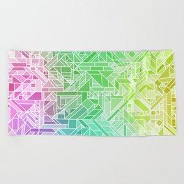 Bright Gradient (Violet Purple Lime Green Neon Yellow) Geometric Pattern Print Beach Towel