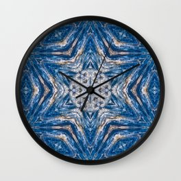 Kyanite with a geometric kaleidoscopic design Wall Clock