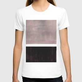 Mid Century Modern Minimalist Art Colorblock Rothko Inspired Squares Grey and Black Simple Abstract T-shirt